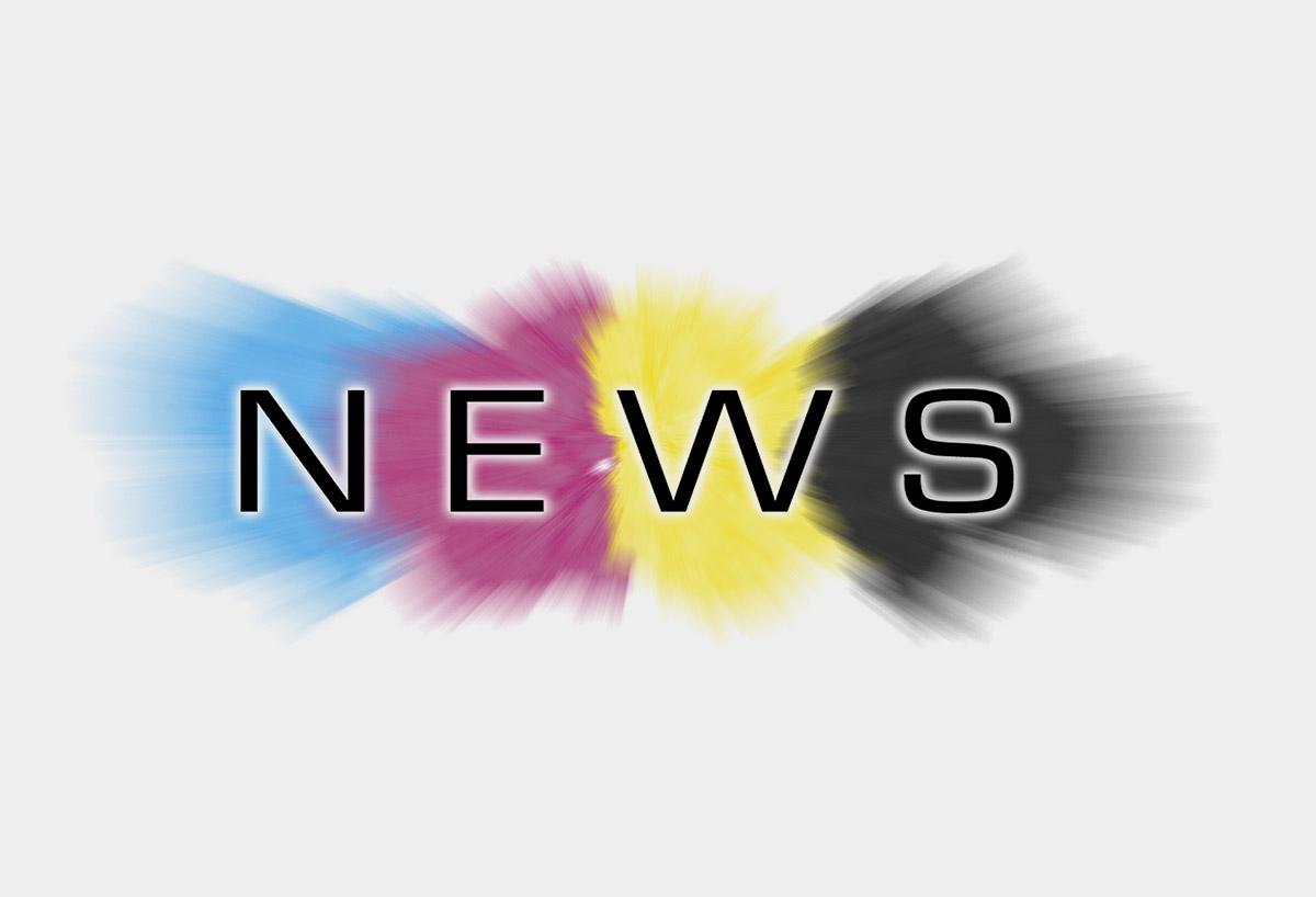 News auf den Farben Cyan, Magenta, Gelb und Schwarz